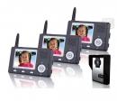 HZ-357MA13 - беспроводной видео домофон (3 монитора)